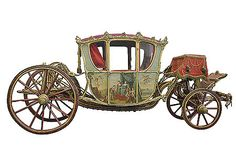 Four-seater berlin, 1763-64, Russia. Wood, iron, steel, bronze, silk, leather, glass, mother of pearl; woodcarving, casting, chasing, forging, gilding, oil painting, colouring, embroidery, weaving. Commissioned by Count Grigory Orlov in 1763 by an unknown craftsman who evidently worked in St Petersburg, in the workshops of the Court Stables. In 1765 Grigory Orlov presented this vehicle to Empress Catherine II. Body panels carry compositions on allegorical themes painted by Gravelot.