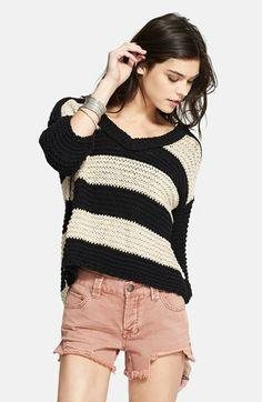 { stripe v-neck sweater }