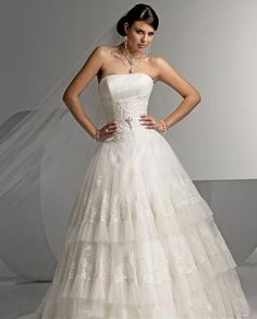 A line Princess Strapless Sweep Train wedding dress for brides 2011 style WED1137