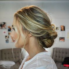 Loose / beachy / effortless bridal hair Bridal Hair / Bride Updo / Twisted / Braided / Wedding Hair / Side Style / Dallas Grapevine Ft Worth Wedding / Texas Wedding / Stephanie Nelson Makeup & Hair / #snmakeuphair