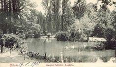 il laghetto dei Giardini Pubblici, in una vecchia e incantevole cartolina