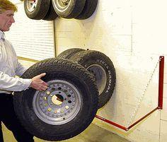 Red Adjustable Tire Storage Rack
