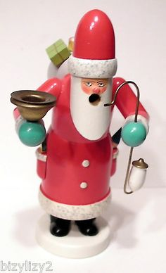 7 Painted Wooden Christmas Santa Smoker German Candle Holder | eBay