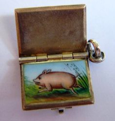 French Good Luck enamel book charms, opens to piggy.