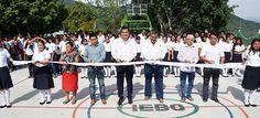 Inauguran cancha deportiva del Plantel 35 del IEBO; beneficia a jóvenes de San Carlos Yautepec y comunidades vecinas