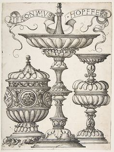 Three Vessels Hieronymus Hopfer (German, ca. 1500–?1563) Date: 16th century Medium: Etching; second state of two