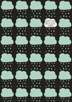 Interesting 2-colour example. Could change the mint colour to white and do something similar for the black and white option. Cloud Pattern | Felt Mountain Studios via Etsy