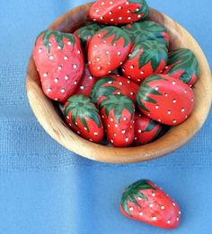 ROCK ART Hand Painted Red Strawberries, Interactive 3D Acrylic Art on Etsy, $20.00 Can someone make these for me? Christmas? Birthday???::