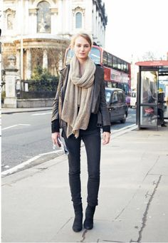 black skinny jeans - black ankle boots - black sweater - dark grey cropped jacket - long cream lace cropped scarf loosely tied