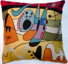 Contemporary Throw Pillows – Miro Carnival, red