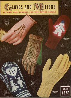 Bear Brand 29 Gloves Mittens Family Knitting Crochet Patterns Norwegian 1953 #BearBrandBucilla #KnittingPatterns