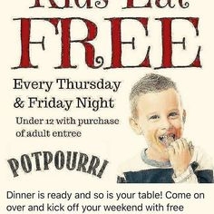 Every Thursday and Friday night kids under 12 eat free with adult entrée purchase! Bring the kids and come on over You will love what we have cooked up for you! #tylertexas #tphtyler 903-592-4171