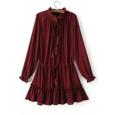 Yoins Tie-neck Drawstring Waist Mini Dress in Burgundy ($45) ❤ liked on Polyvore featuring dresses, plum, red mini dress, long sleeve short dress, long sleeve dress, long-sleeve mini dress and red necktie