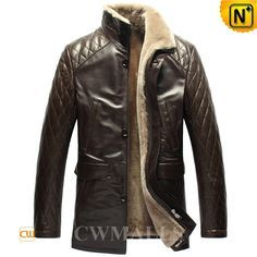 CWMALLS Mens Quilted Leather Shearling Coat CW857018 Handsome men's leathe sherling coats designed in qulited shoulder and sleeve. Winter warm shearling jacket made of supple and thick lamb fur shearling lining with imported Turkey calfskin leather exterior, let you take on the cold in distinguished style.  www.cwmalls.com PayPal Available (Price: $1537.89) Email:sales@cwmalls.com
