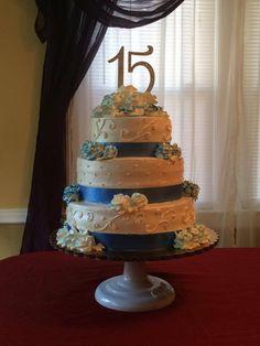 15 th Birthday Cake  Whip cream and fruits