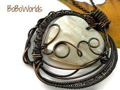 Copper heart necklace Wire wrapped heart pendant Heart