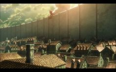 Still from Attack on Titan! basic linear perspective but showing massive scale through the height of the wall and titan peering over the top. Attack On Titan Episodes, Attack On Titan Season, Attack On Titan Levi, Anime Wallpaper 1920x1080, Naruto Wallpaper, Wallpapers, Night Sky Moon, Japan Meme, Attack On Titan Aesthetic