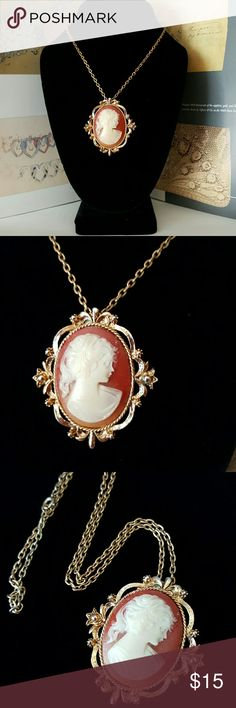 Vintage Celluloid Cameo Necklace Pendant Very good vintage condition. Can be worn as a necklace or brooch. Vintage Jewelry Necklaces