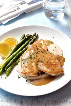 15 Minute Chicken with Creamy Marsala Sauce, White Bean Puree & Asparagus - RecipeTin Eats
