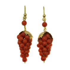 Victorian 14K Gold Carved Red Coral Grape Cluster Earrings, c. 1890. $650