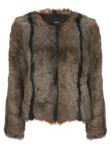 Unreal Fur Unreal Dream Natural Beige Stripes Fake Fur Jacket