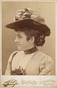 +~+~ Antique Photograph ~+~+  Ritz, Boston, circa 1890.  A rather Fashionable Hat.