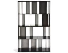 Sundial Bookcase by Kartell. A bookcase with shelving featuring a series of satin-finished or transparent dividers set at slightly different angles like the shadows of a sundial. Wooden Bookcase, Bookcase Shelves, Display Shelves, Bookcases, Kallax Shelf, White Bookshelves, Storage Shelving, Book Shelves, Billi Regal