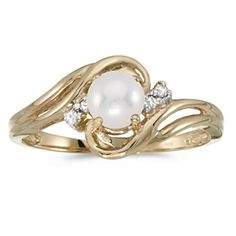 10k Yellow Gold Freshwater Cultured Pearl And Diamond Ring Size 6 * Be sure to check out this awesome product.(This is an Amazon affiliate link)