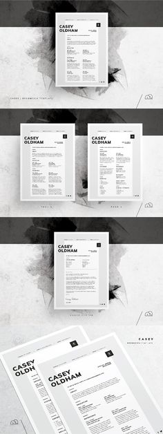 Resume / CV Template - Casey For those looking for a professional template, 'Casey' offers a unique minimal design, plus matching cover letter (including sample letter). Cv Design, Resume Design, Stationery Design, Cv Resume Template, Resume Cv, Business Resume, Book Cover Design, Book Design, Portfolio Web