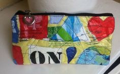plastic fused zippered pouch  Aug 2015 I love upcycling :)