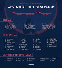 Adventure Title Generator What would the title of your YA adventure novel? Use this title generator inspired by The Loneliest Girl in the Universe to find out! Book Title Generator, Funny Name Generator, Story Name Generator, Writing Prompt Generator, Random Story Generator, Generator Box, Daily Writing Prompts, Book Writing Tips, Writing Ideas