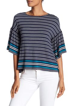 Image of Max Studio Striped Bell Sleeve Tee