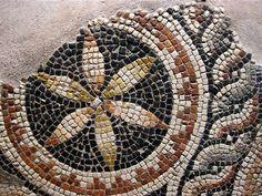 Geometric mosaic close-up, from the Zeugma Mosaics Museum in Gaziantep, Turkey