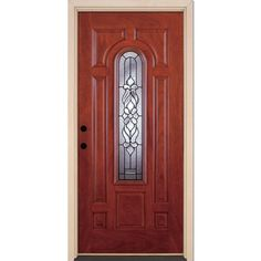 Feather River Doors 37.5 in. x 81.625 in. Lakewood Patina Center Arch Lite Stained Cherry Mahogany Right-Hand Fiberglass Prehung Front Door, Mahogany Woodgrain: Cherry Finish