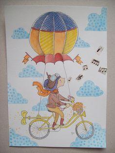 Santiago Regis #watercolor #collage #bicycle #flowers #clouds #illustration