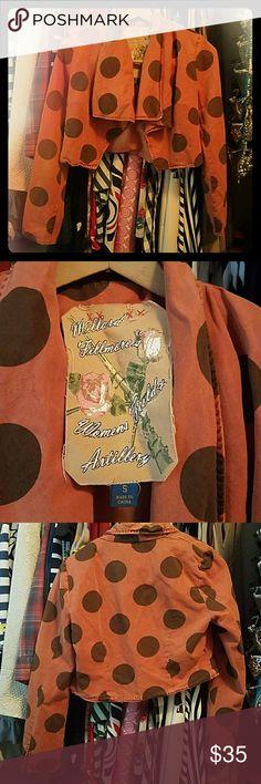 Millard Fillmore orange dot crop jacket small ?Millard Fillmore's Womens Field & Artillery Cropped Jacket from Anthropologie. Silk & Cotton blend, inside is lined! Lightly padded shoulder Open to reasonable offers please ask questions Anthropologie Jackets & Coats