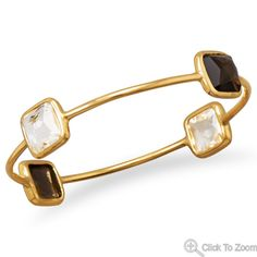 Wholesale Sterling Silver Jewelry   Silver Stars Collection Vermeil Freeform Faceted 4 Stone Bangle