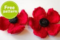 Buy Free Pattern Poppy Knitting Pattern from the Knitting Patterns range at Hobbycraft. Knitted Poppy Free Pattern, Crochet Poppy, Poppy Pattern, Crochet Flower Patterns, Knitting Patterns Free, Crochet 101, Simple Crochet, Crochet Tutorials, Knit Patterns