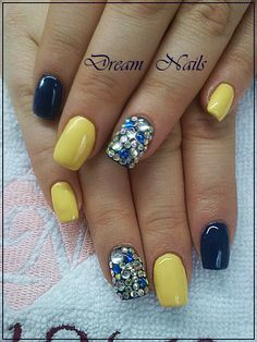 Dream Nails, Summer Nails, Yellow, Blue, Contrast, Nail Designs, Nail Art, Facebook, Beauty