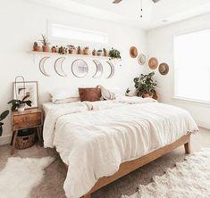 Boho Living Room, Boho Teen Bedroom, Boho Bedroom Decor, Nordic Bedroom, Adult Bedroom Decor, Scandinavian Bedroom Decor, White Wall Bedroom, Bohemian Bedroom Design, Light Bedroom