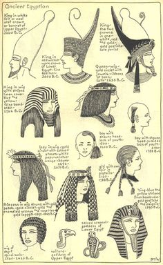 Village Hat Shop Gallery :: Chapter 1 - Ancient Egyptian :: Illustrations of the different hat styles of the Ancient Egyptians. of Egypt Ancient Art, Ancient History, Art History, Ancient Greek, Egyptian Fashion, Ancient Egyptian Clothing, Ancient Egypt Fashion, Religion, Egyptian Mythology