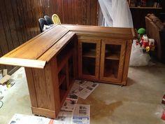 custom home oak bar – stained – Basement İdeas 2020 Wet Bar Basement, Basement Bar Plans, Basement Bar Designs, Home Bar Designs, Basement Ideas, Basement Kitchen, Basement Bathroom, Basement Remodeling, Diy Home Bar