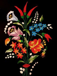 hungarian folk embroidery | Handmade Hungarian Kalocsa embroidery. | Hungarian Folk Art