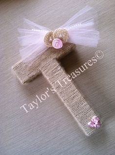 Taylors Treasures  - Custom Wrapped Nursery Letters - Boutique Wall Letters - Can Do Whole Name - Any Colors. $9.49, via Etsy.