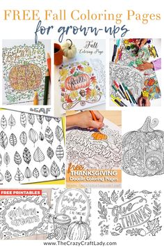 FREE fall coloring page sheets for grown ups - Autumn themed adult coloring pages Thanksgiving Coloring Pages, Fall Coloring Pages, Doodle Coloring, Free Coloring, Thanksgiving Ideas, Colouring, Coloring Pages For Grown Ups, Printable Adult Coloring Pages, Printable Art