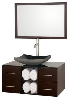 "Wyndham Collection 36"" Abba Single Sink Vanity in Espresso w/ Smoke Glass Top modern bathroom vanities and sink consoles"