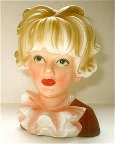 Relpo Ruffled Lady Head Vase Porcelain Ceramic Vintage 60s Pearl Earrings 6 inch Kitschy Modern Girl Japan