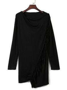 Shop Black Single Button Tassel Asymmetrical Hem Coat from choies.com .Free shipping Worldwide.$15.9