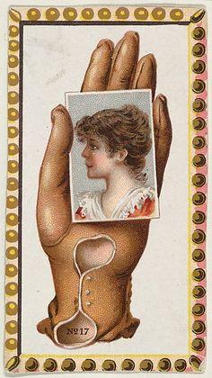 "Card #17 from the ""Opera Gloves"" series (G29), for Allen & Ginter Cigarettes between 1885 and 1890. American Card, Matchbox Art, Postcard Art, Vintage Images, Vintage Postcards, Vintage Valentines, Collage Sheet, Card Games, Vintage Advertisements"