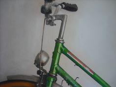 """Detalle de la serie """"Bicis"""" 2014 Técnica mixta sobre tabla.Por Inma Pascual Aparici"""